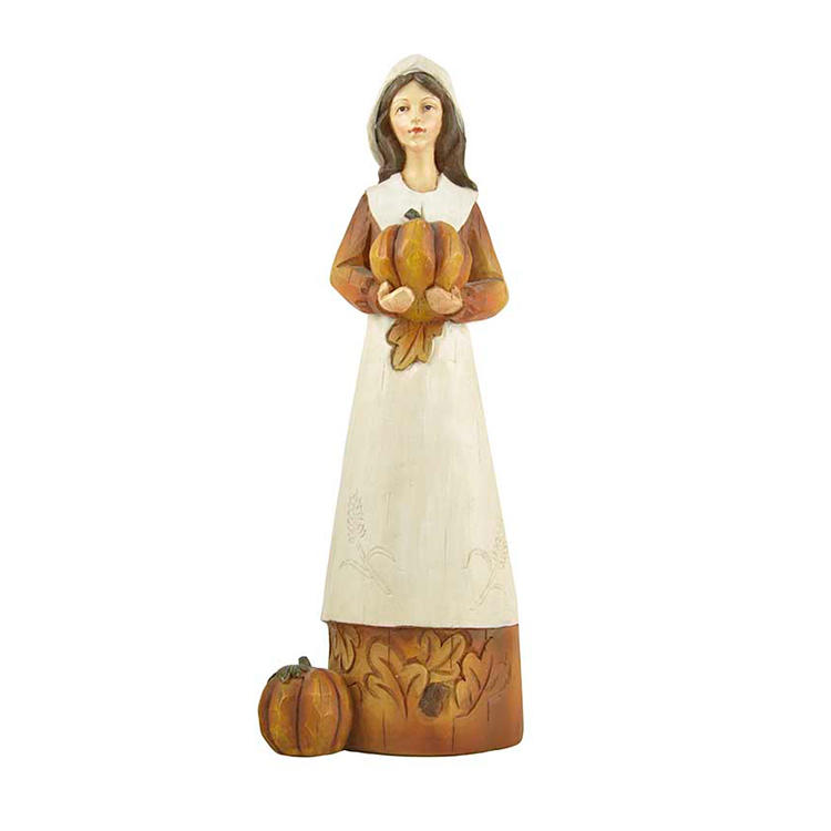 Funny Harvest Collection Custom Home Decor Polyresin Autumn Gifts Holding A Pumpkin Woman Figurine Crafts