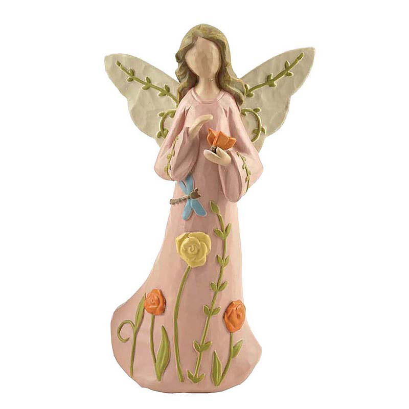 Polyresin Pink Flower Angel Figurine
