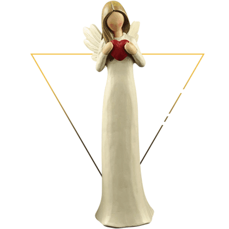 Custom Made Factory Hand-painted Resin Cream Angel Figurine with Red Heart