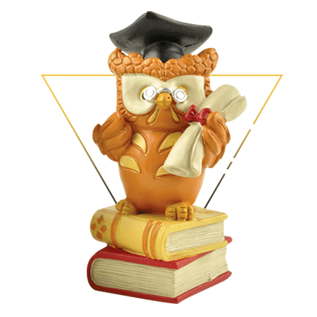S/2 Polyresin Handmade Crafts Owl Graduation Student Gifts on Book