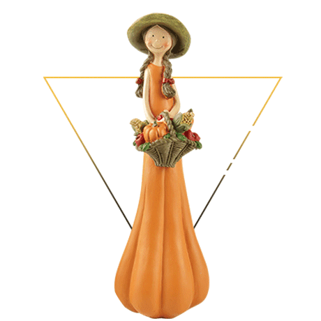 Home Decor Polyresin Fall Gifts Pumpkin Girl Figurine with Basket