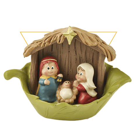 Holy Family Nativity Figurine in Leave Home Decoration Jesus baby Mary Figure with Manger