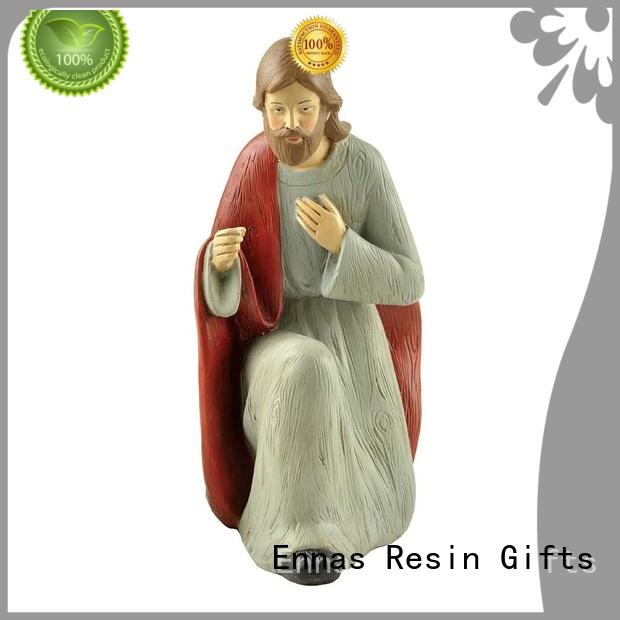 Ennas holding candle nativity set figurines christmas family decor