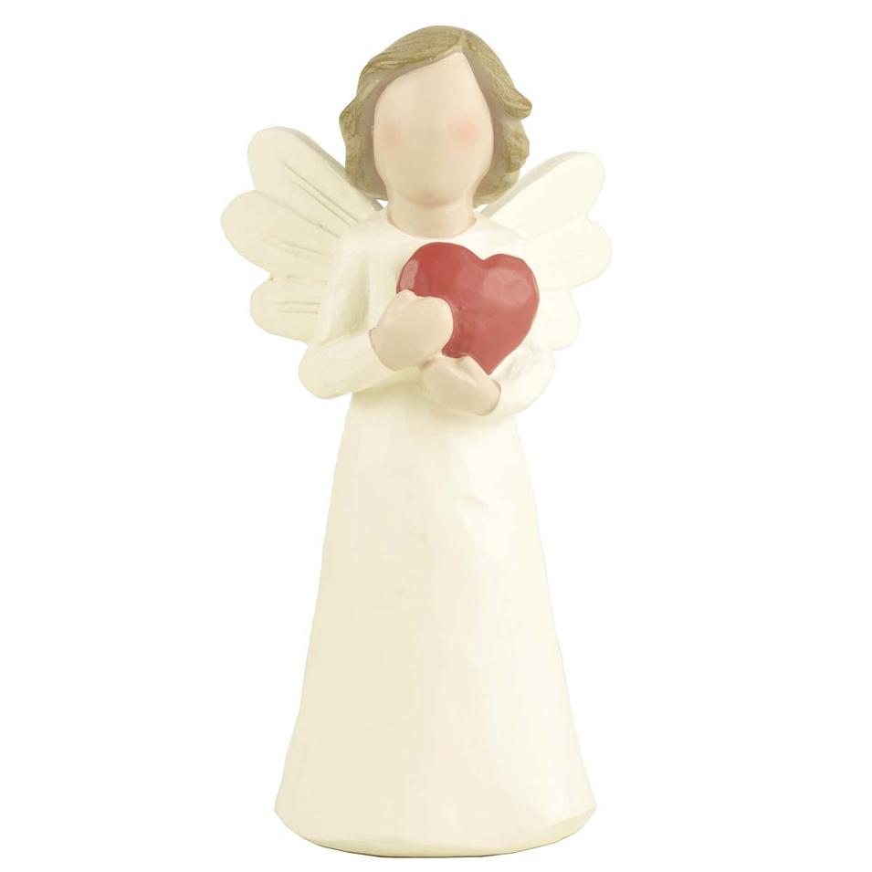 High Quality Creationary Unique Home Decorating Handicraft Colored Polyresin red heart angel figurine
