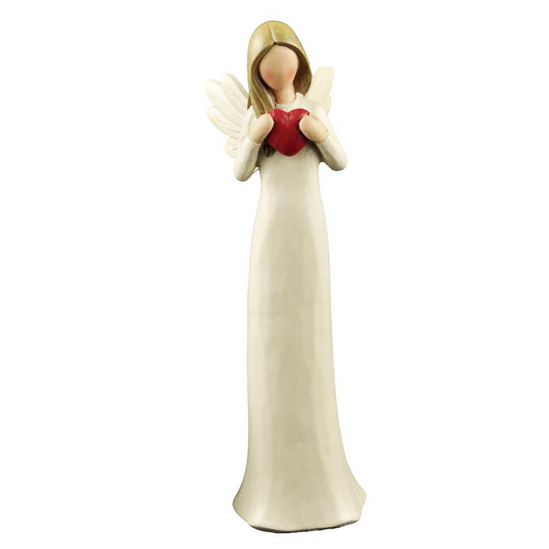 Custom Made Factory Handmade Carved Resin Cream angel figurine with red heart