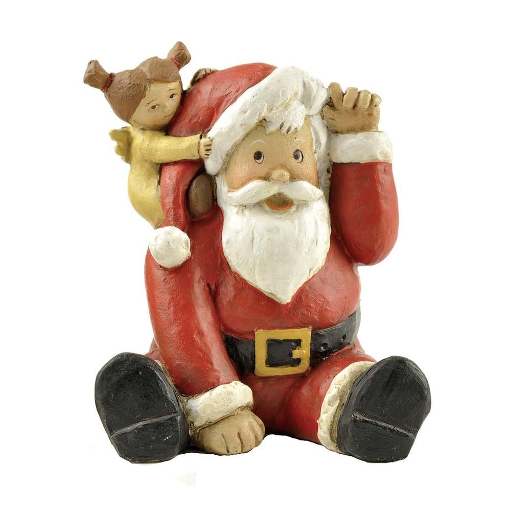 Custom Your Design Polyresin Crafts Christmas Sitting Santa with the Girl