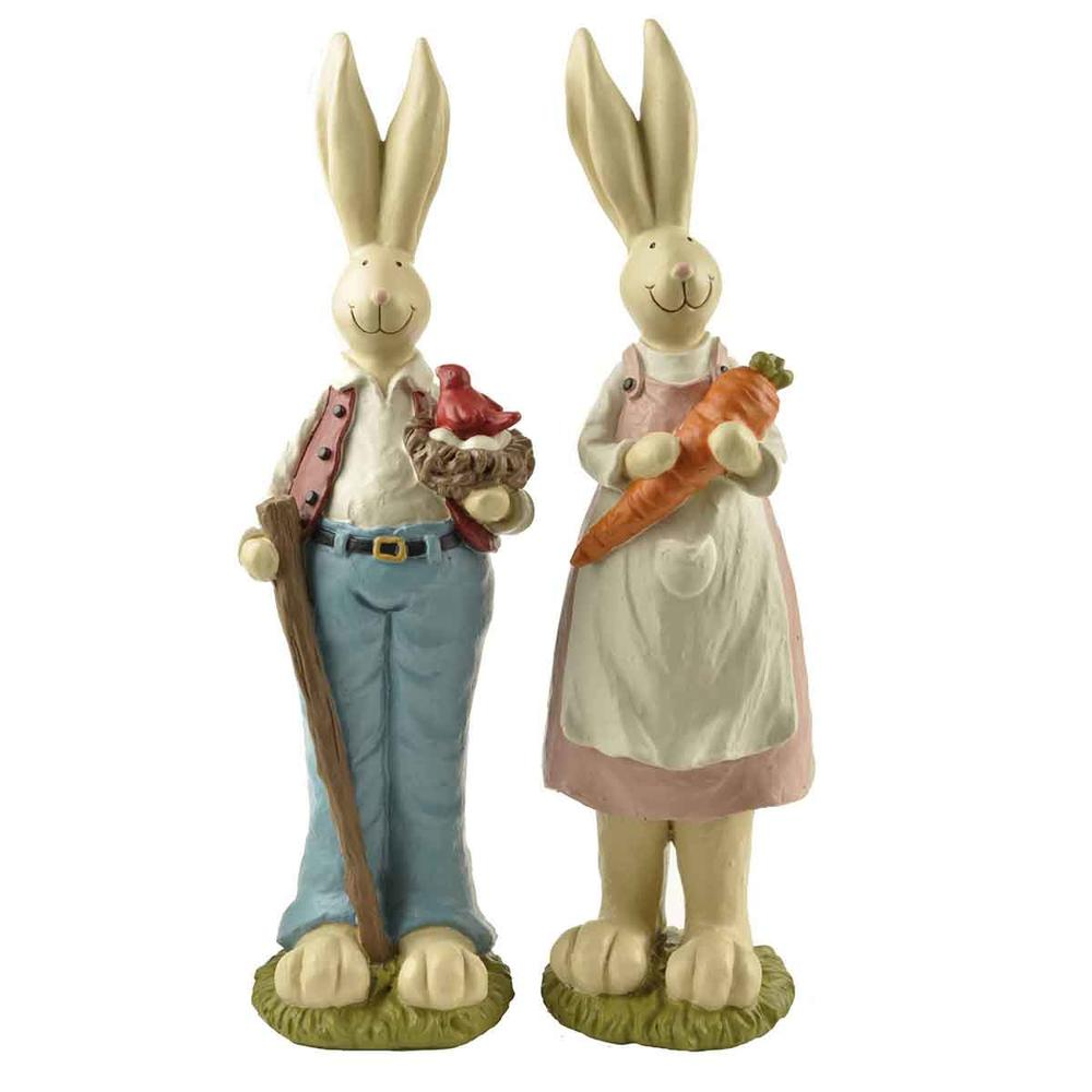 Bonsai Home Decor Easter Day Gifts 2/S Couple Easter Bunnies Figurines with Bird Net & Carrot