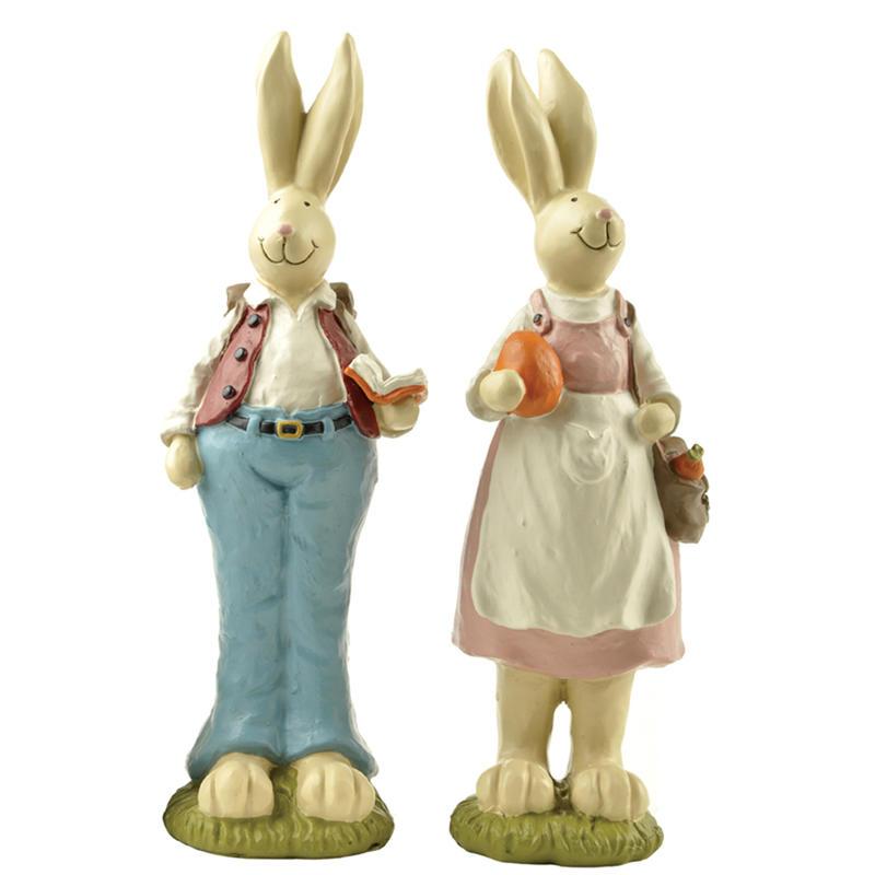 Ennas hot-sale vintage easter bunny figurines polyresin home decor