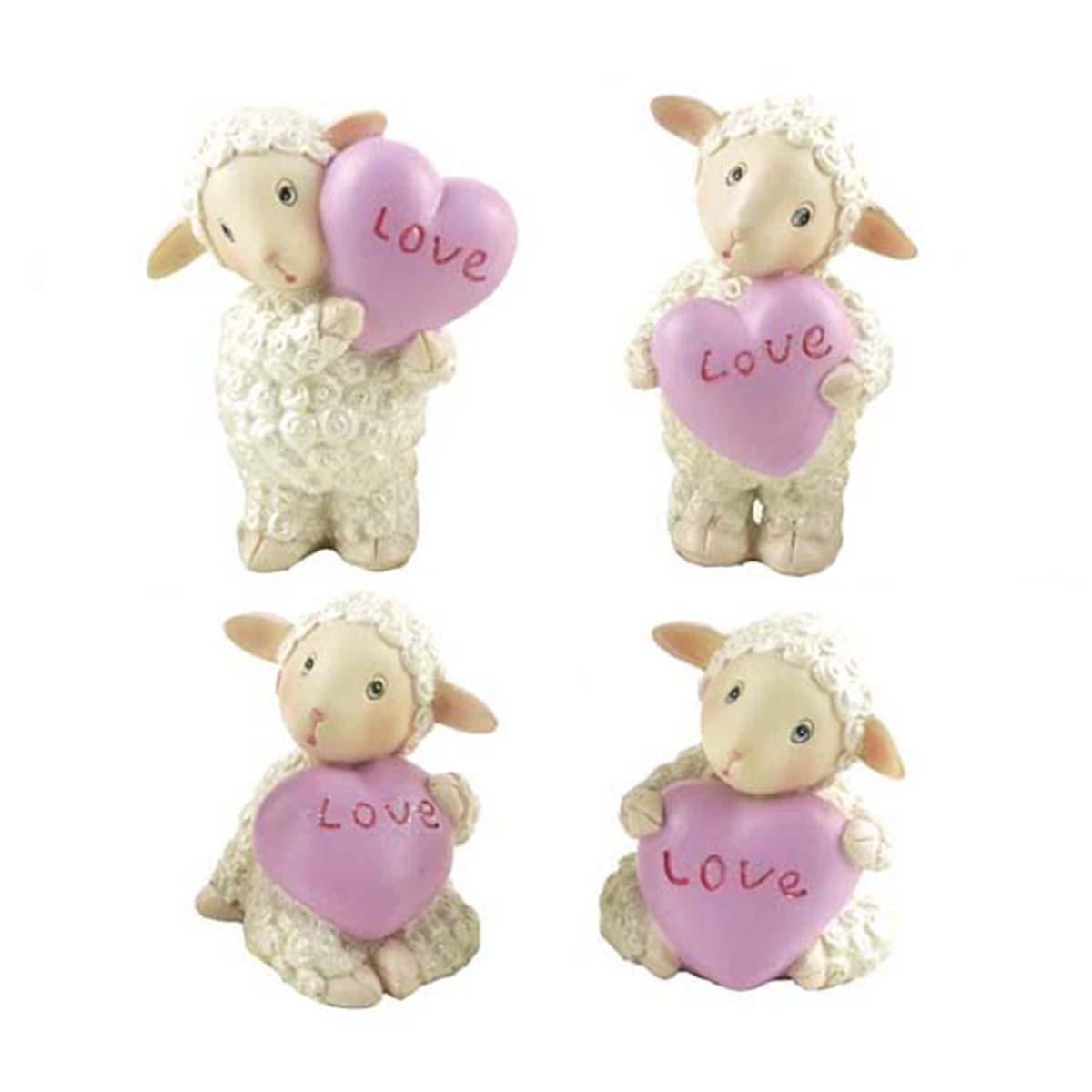 Factory Hot Sales Resin Mini Animal Sheep Figurines Gift for Valentine's Day