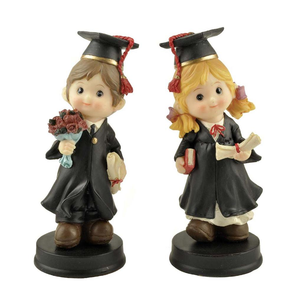 Factory Custom Made Home Decoration Gift Resin Graduation Boy and Girl Statue
