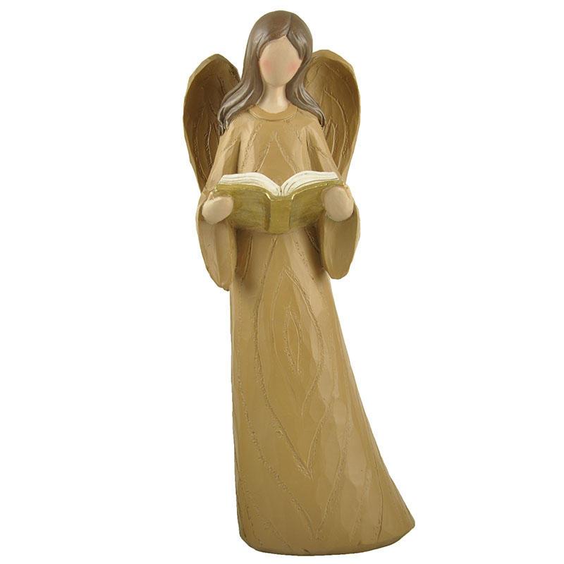 Reading Book Wood Textured Resin Angel Figure