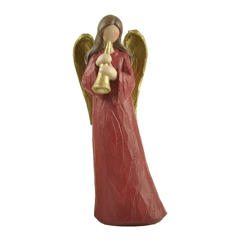 Christmas Red Playing Trumpet Wood Textured Resin Angel