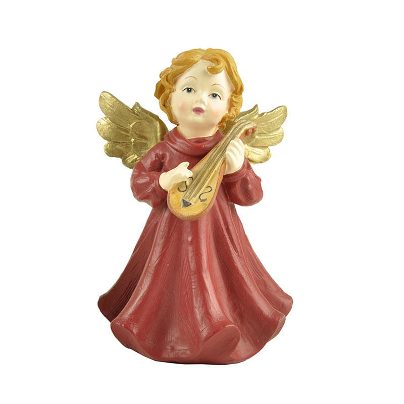 Playing Moon Lute Angel Figurines  Statues