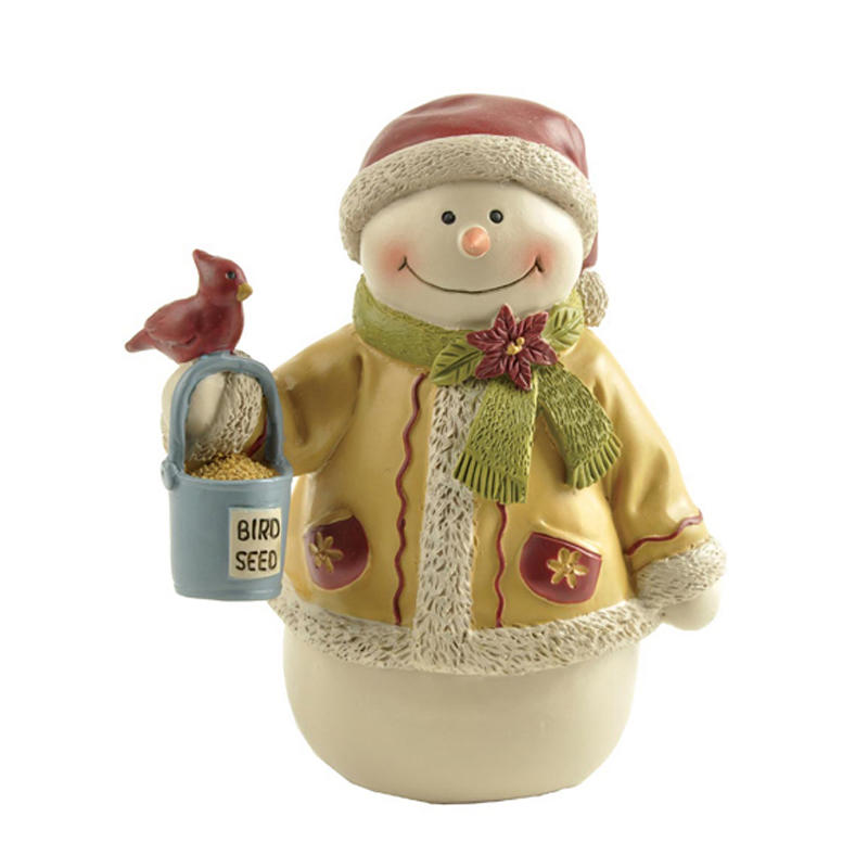 Snowman with Red Bird & Seed Bucket, Mini Christmas Figurines