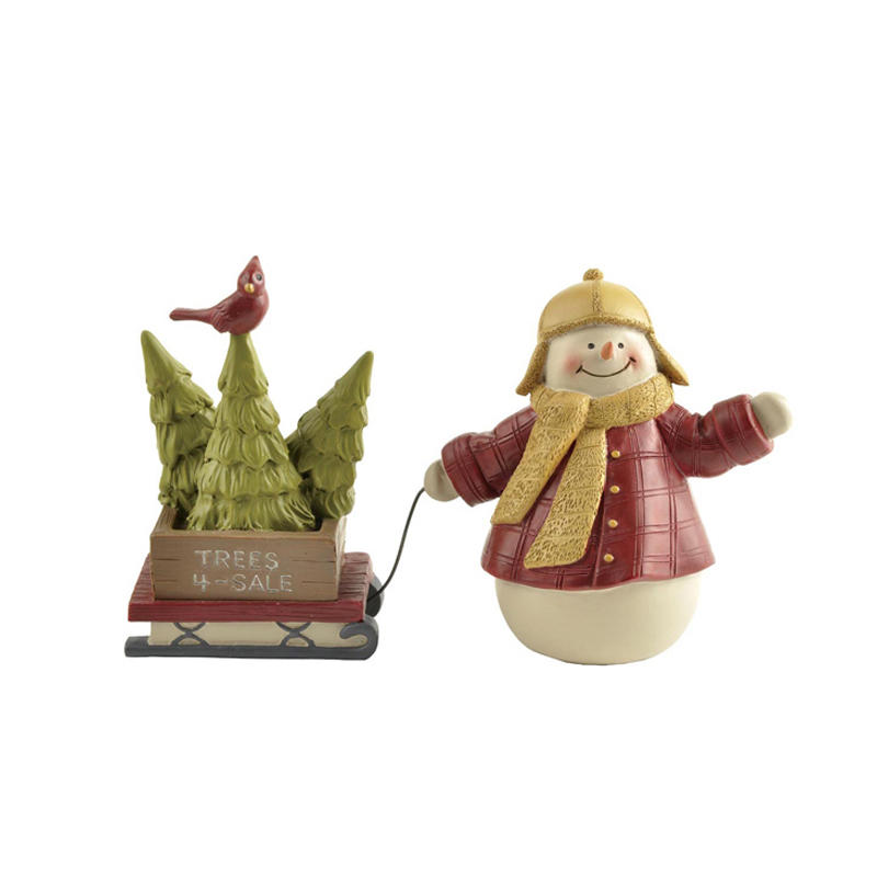 Snowman with Tree on Sleigh Christmas Figurine