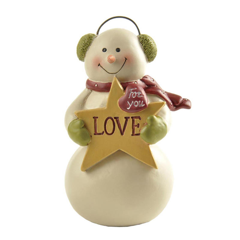 Snowman with Ear Muff Holding Star Mini Christmas Figurines
