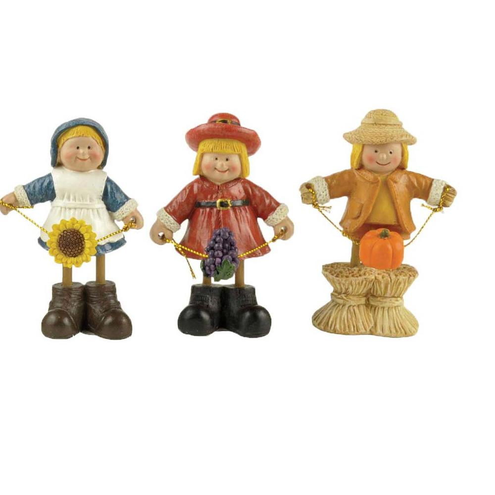 S/3 Farmer Figurine with Sunflower,Grapes & Pumpkin