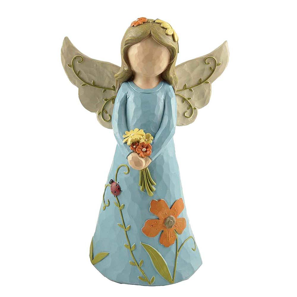 Factory Custom Made Blue Figurine Fairy Statues Resin Angel for Home Decor