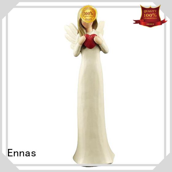 Custom Made Factory Handmade Carved Resin Cream angel figurine with red heart