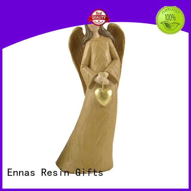 Holding Heart Wood Textured Resin Angel Figure Statues