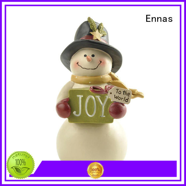 Snowman with Gift Box Resin Christmas Figurines