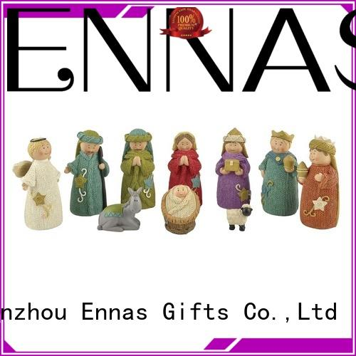 Hand-Painted Religious Ornaments Polyresin Christmas Nativity Set