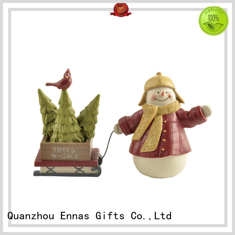 Snowman with Tree on Sleigh Christmas Figurine