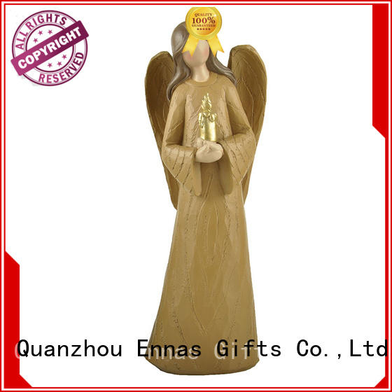 Home Decor Holding Candle Wood Textured Resin Angel Figure