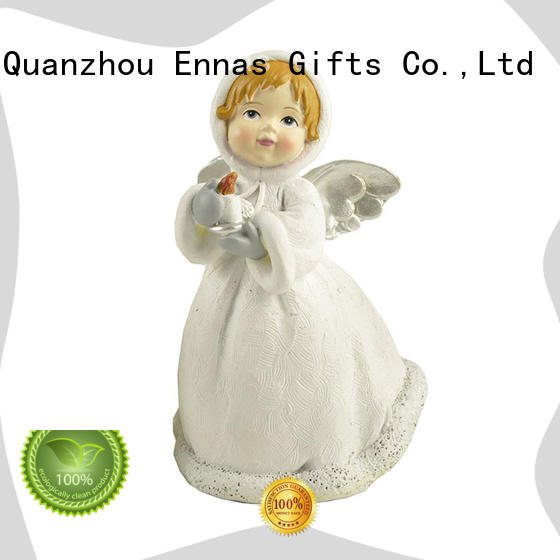 Holding Candle Holder Little White Angel Figure