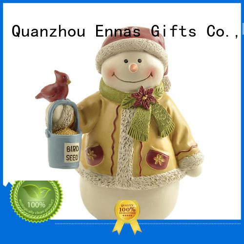 Snowman with Red Bird & Seed Bucket, Mini Christmas Figurines