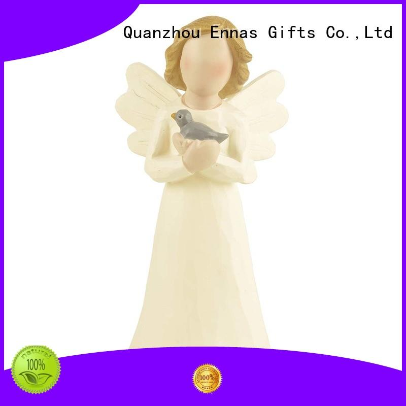 Decorative Resin Hand Crafted White Angel figurine with Blue Bird-Peace