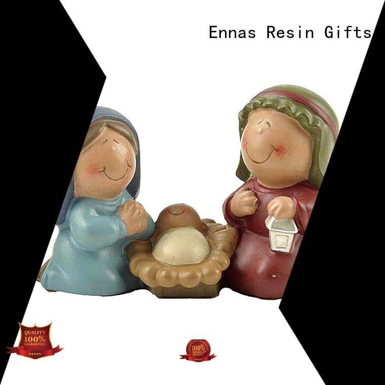 Ennas catholic nativity set with stable popular craft decoration