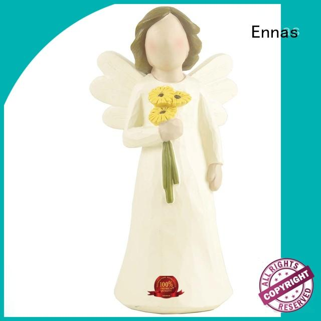 Home Decor Unique Hot Selling Fashion Popular Resin Angel Figurines with Flower