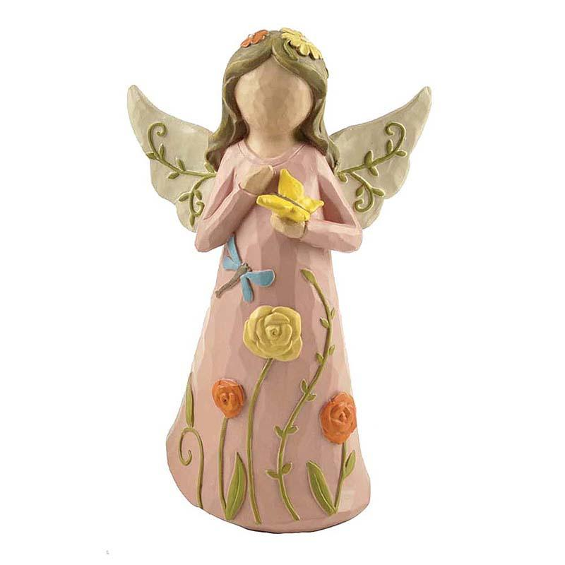 Hand Carved Polyresin Butterfly Pink Cloth Angel Statue with Wings