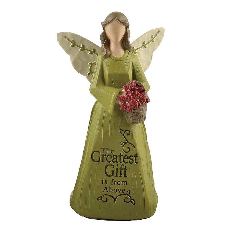 Hand Painted Resin Kneeling Angel with Flower Basket