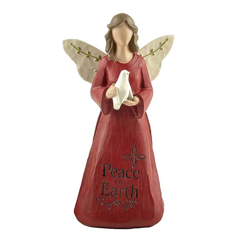 Customized Color Red Kneeling Angel with Pigeon