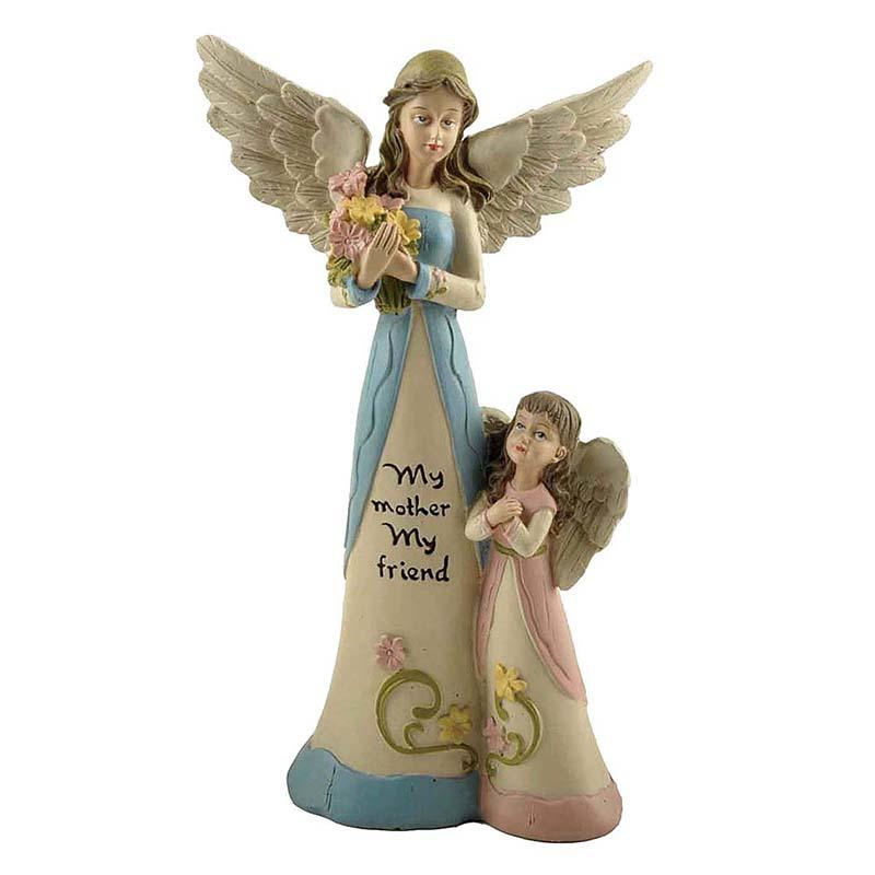 High Quality Resin Angel Figurine Mother Angel & Daughter Angel with Flowers