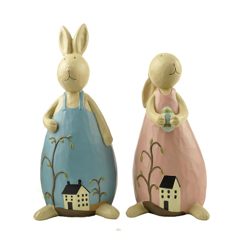New design Spring Resin Bunny Couples Craft for Easter Decoration