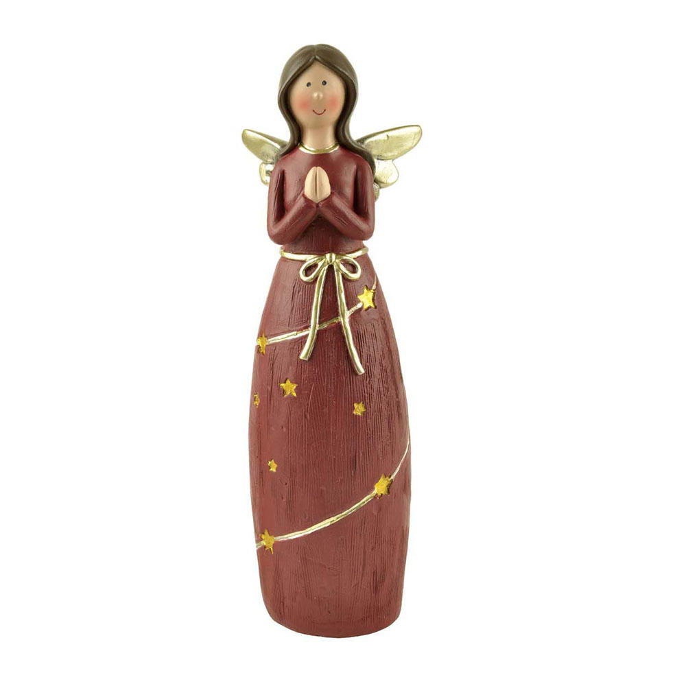 Wholesale Resin Red Praying Angel Figurine