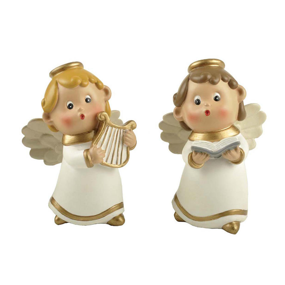S/2 Polyresin Cute Little Angel w/ Musical Instrument & Book Figurine