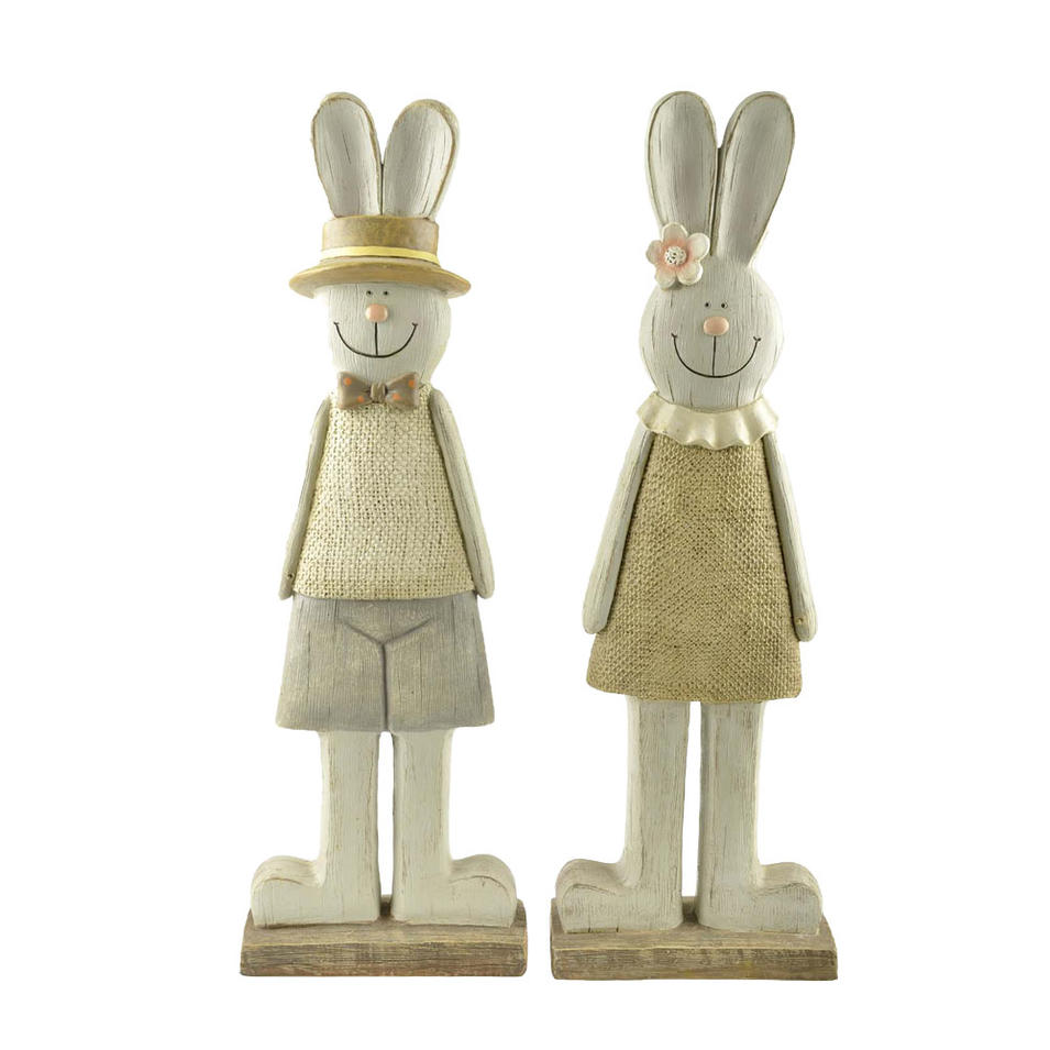 S/2 Handcraft Spring Wood-finish Large Bunny Couple Garden Decoration