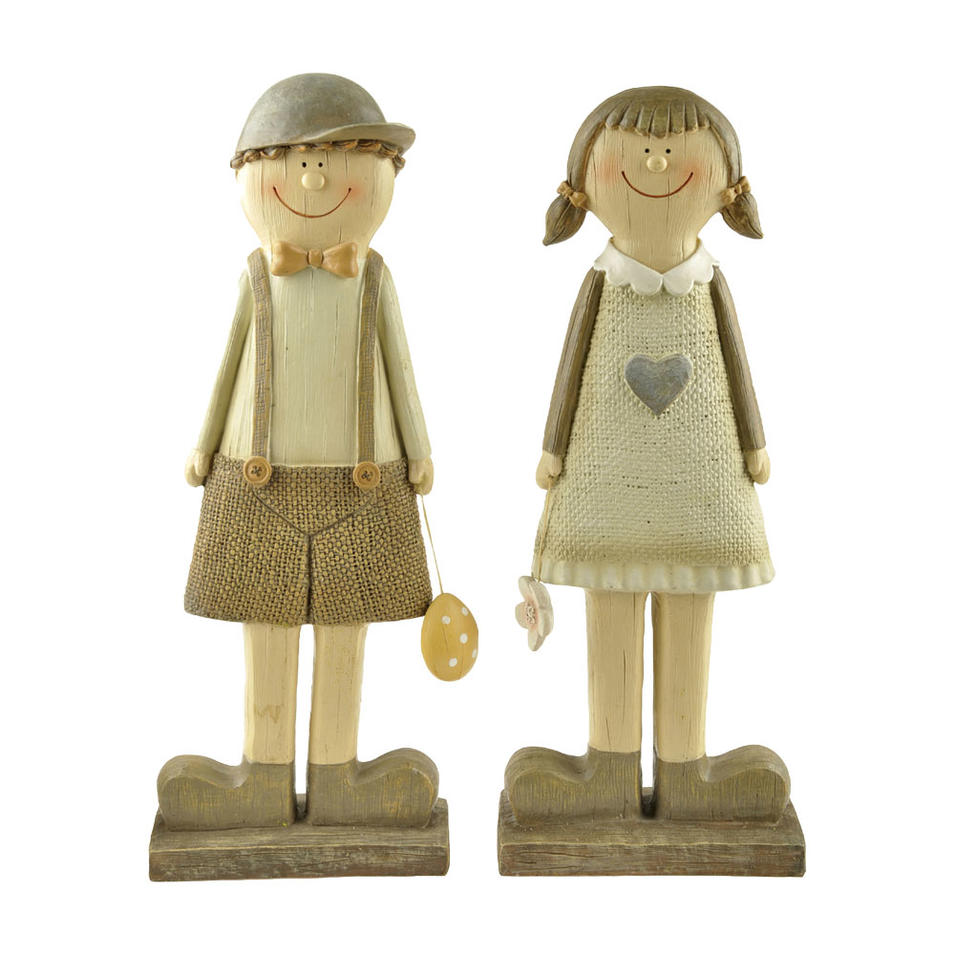 S/2 Wholesale Polyresin Wood-like Lovely Spring & Easter Boy & Girl Decoration PH15284
