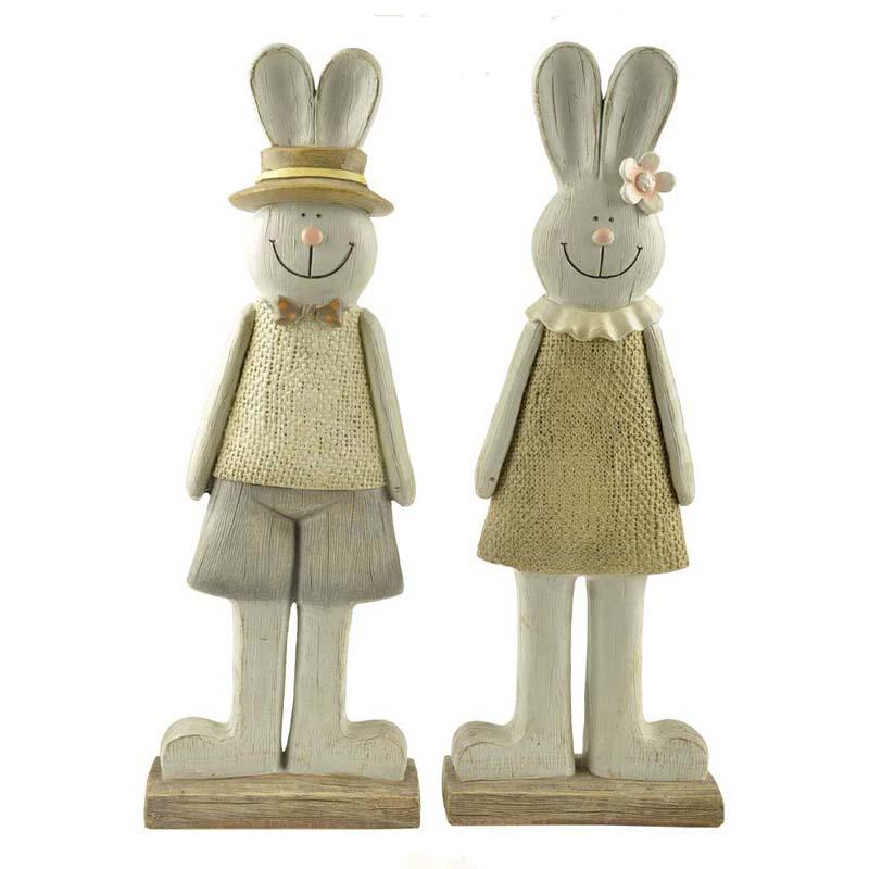 Polyresin rabbit couple figurines for garden decoration