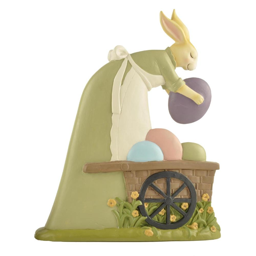 Resin Easter Rabbit Bunny Figurine Statue With Egg Basket