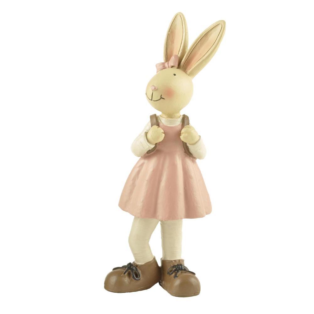 Hot Selling Resin Animal Bunny Figurine Girl Rabbit with School Bag