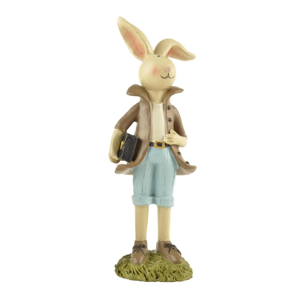 Polyresin Figurine Small Rabbit Statue Boy Bunny Carrying Briefcase