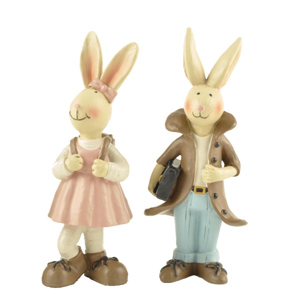 Handmade Polyresin Unique Easter Table Decoration Boy and Girl Rabbit Statue