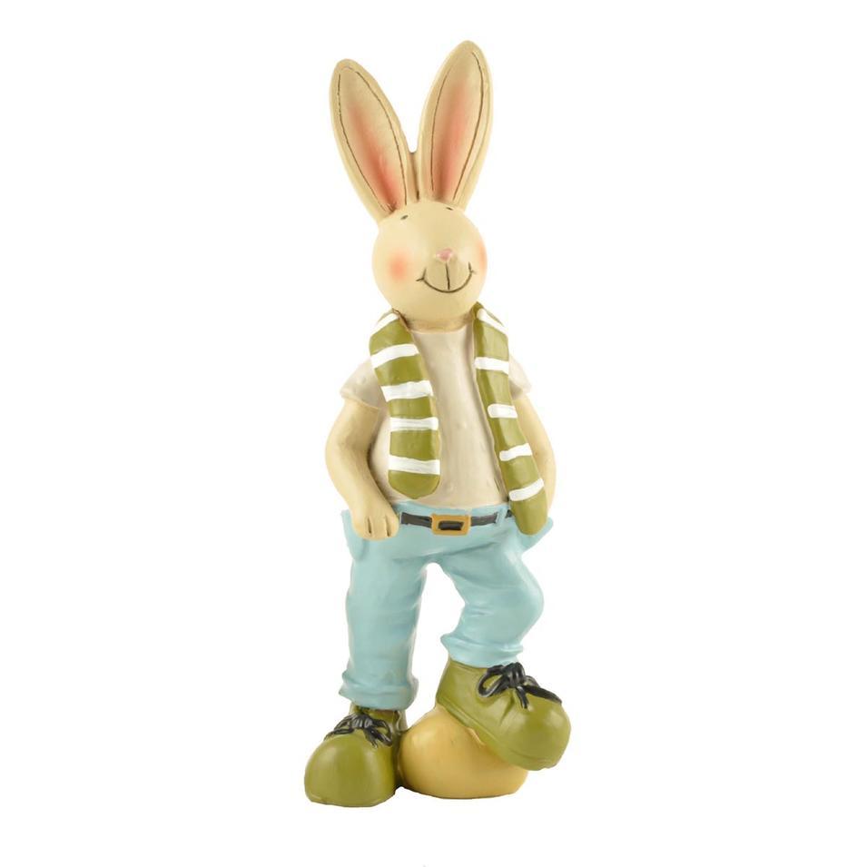 Hot Sale Resin Garden Animal Figurine Rabbit Bunny Statue with Egg Medium