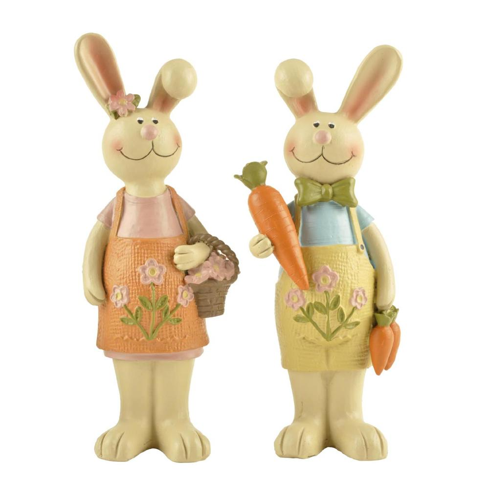 S/2 New Design Hot Sale Resin Easter Gift Rabbit Statues Decoration Medium