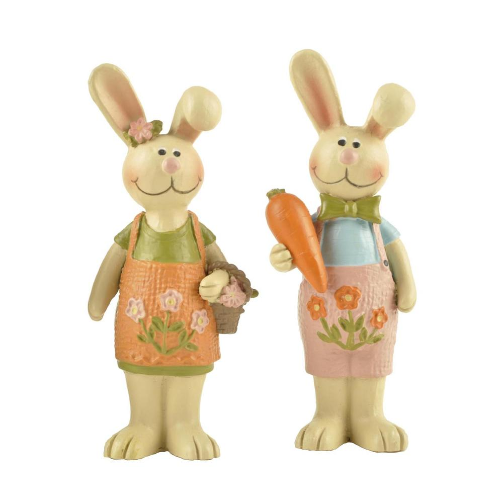 S/2 Cute Resin Easter Gift Statues Couple Rabbit with Carrot and Flower Basket